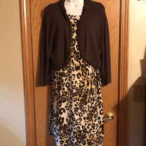 Nina Leonard size XL leopard dress and cardigan